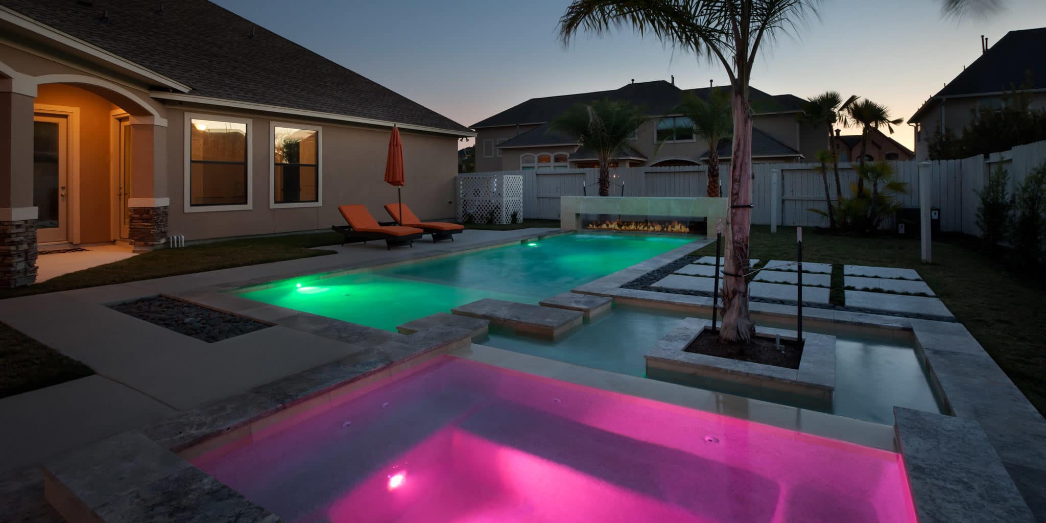 Custom lit pool and hot tub